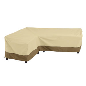 Ash Beige and Brown Patio Left Facing Sectional Lounge Set Cover
