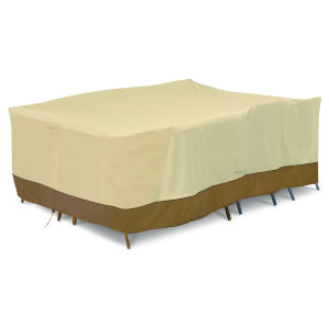 Ash Beige and Brown Conversation Set and General Purpose Patio Furniture Cover