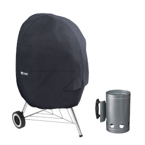 Poplar Black 30-Inch Kettle BBQ Grill Cover with Charcoal Chimney