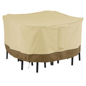 Ash Beige and Brown Square Patio Bar Table and Chair Set Cover