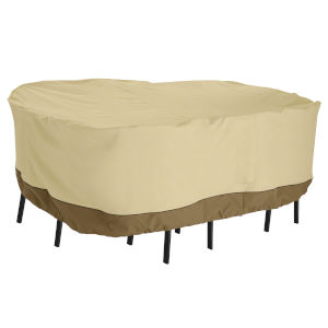 Ash Beige and Brown 108-Inch Rectangular Patio Bar Table and Chair Set Cover