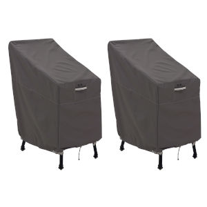 Maple Dark Taupe Patio Bar Chair and Stool Cover, Set of 2