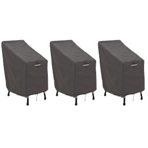 Maple Dark Taupe Patio Bar Chair and Stool Cover, Set of 3