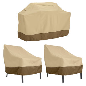 Ash Beige and Brown 64-Inch BBQ Grill Cover and 38-Inch Patio Lounge Chair Cover