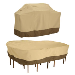 Ash Beige and Brown 58-Inch BBQ Grill Cover and 108-Inch Rectangular Oval Patio Table and Chair Set Cover
