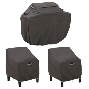 Maple Dark Taupe 8-Inch BBQ Grill Cover and 38-Inch Patio Lounge Chair Cover