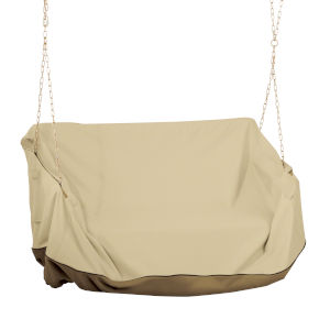 Ash Beige and Brown Porch Swing Cover