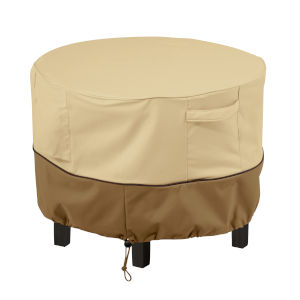 Ash Beige and Brown 22-Inch Round Patio Ottoman and Coffee Table Cover