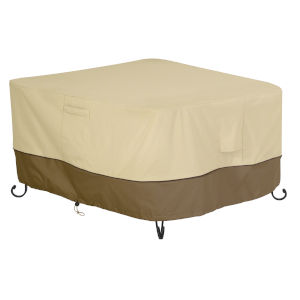 Ash Beige and Brown Square Fire Pit Table Cover