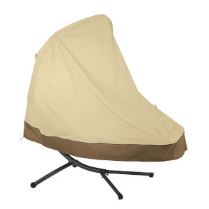 Ash Beige and Brown Patio Hanging Chaise Lounge and Stand Cover