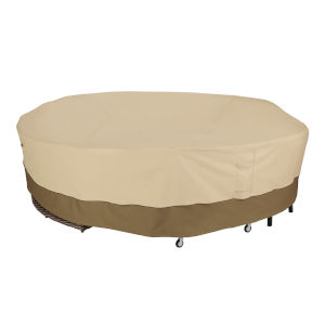 Ash Beige and Brown Round General Purpose Patio Furniture Cover