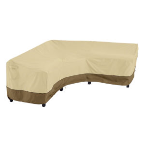 Ash Beige and Brown 115-Inch Patio V-Shaped Sectional Lounge Set Cover
