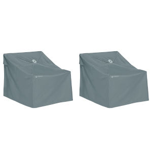 Poplar Monument Grey Easy Fold Lounge Chair Cover, Set of 2