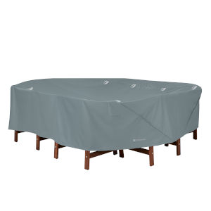 Poplar Monument Grey Rectangle Oval Table and Chairs Cover