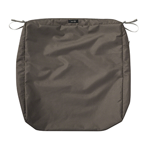 Maple Dark Taupe 21 In. x 25 In. Rectangular Patio Seat Cushion Slip Cover