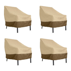 Ash Beige and Brown Patio Lounge Chair Cover, Set of 4