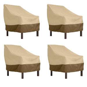 Ash Beige and Brown Patio Chair Cover, Set of 4