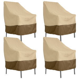 Ash Beige and Brown High Back Patio Chair Cover, Set of 4