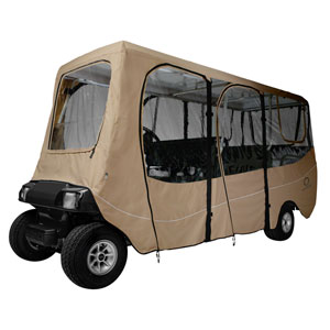 Cypress Khaki Extra Long Roof Deluxe Golf Car Enclosure