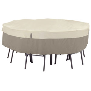 Belltown Sidewalk Grey Round Patio Table and Chair Set Cover, Large