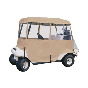 Cypress Sand Deluxe 4-Sided Passenger Golf Car Enclosure