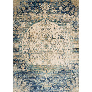 Anastasia Blue and Ivory Runner: 2 Ft 7 In x 12 Ft Rug