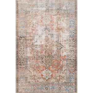 Loren Terracotta and Sky Rectangular: 5 Ft. x 7 Ft. 6 In.  Rug
