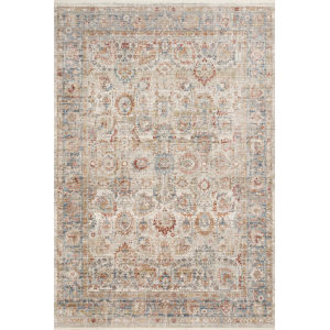 Claire Ivory and Ocean 5 Ft. 3 In. x 7 Ft. 9 In. Power Loomed Rug