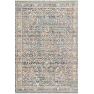 Claire Blue and Sunset 5 Ft. 3 In. x 7 Ft. 9 In. Power Loomed Rug
