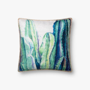 Green Polyester 18 In. x 18 In. Throw Pillow Cover with Down