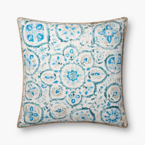 Blue Polyester 22 In. x 22 In. Throw Pillow Cover with Down