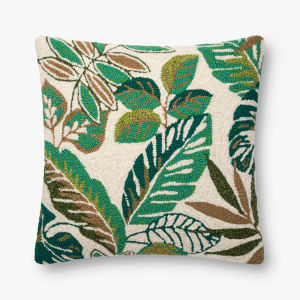 Green Multicolor 22 In. x 22 In. Throw Pillow Cover with Down