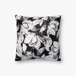 Black with White 18 In. x 18 In. Throw Pillow Cover with Down