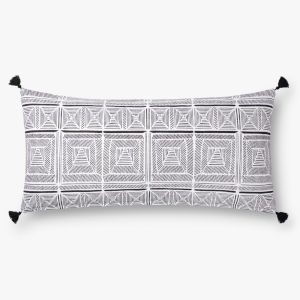 Black with White 12 In. x 27 In. Throw Pillow Cover with Down
