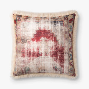 Ivory Multicolor Acrylic and Polyester 22 In. x 22 In. Throw Pillow Cover with Down