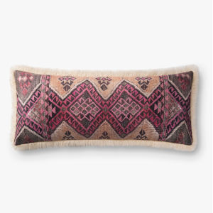 Ivory Multicolor 13 In. x 35 In. Throw Pillow Cover with Down