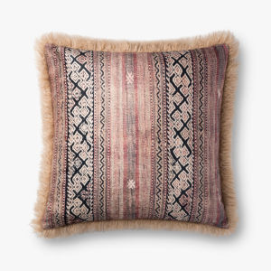 Beige Multicolor 22 In. x 22 In. Throw Pillow Cover with Down