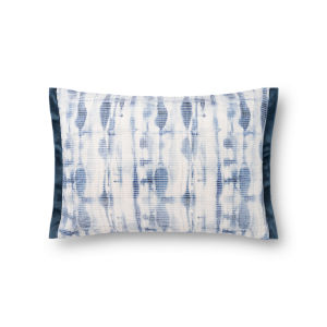 Blue and White 13 x 21 In. Pillow Cover with Down Insert