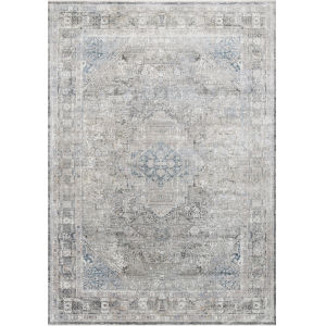 Gemma Silver and Blue 2 Ft. 8 In. x 7 Ft. 9 In. Power Loomed Rug