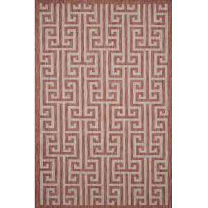 Isle Rust with Beige Rectangle: 5 Ft. 3 In. x 7 Ft. 7 In. Rug
