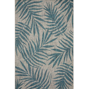 Isle Grey with Aqua Rectangle: 5 Ft. 3 In. x 7 Ft. 7 In. Rug