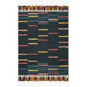 Justina Blakeney Jamila Teal and Sunset Rectangle: 3 Ft. 6 In. x 5 Ft. 6 In. Rug