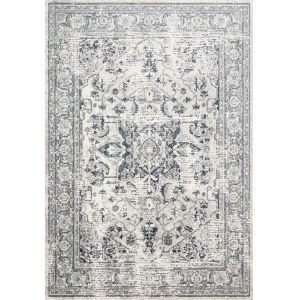 Joaquin Light Green and Blue 6 Ft. 7 In. x 9 Ft. 2 In. Power Loomed Rug