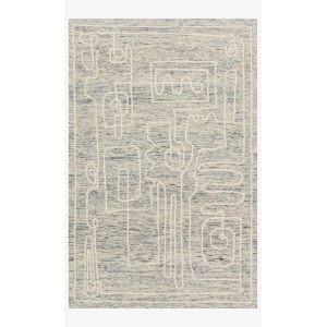 Justina Blakeney Leela Sky and White Rectangle: 2 Ft. 6 In. x 12 Ft. Rug