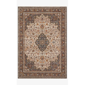 Lourdes Natural and Ocean Rectangle: 5 Ft. 3 In. x 7 Ft. 9 In. Rug