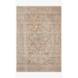 Lourdes Ivory and Spice Round: 5 Ft. 7 In. x 5 Ft. 7 In.  Rug