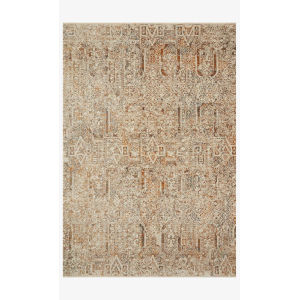 Lourdes Ivory and Orange Round: 2 Ft. 8 In. x 2 Ft. 8 In.  Rug
