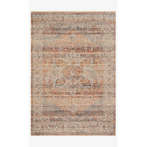 Lourdes Tangerine and Ocean Rectangle: 5 Ft. 3 In. x 7 Ft. 9 In. Rug
