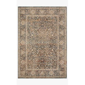 Lourdes Charcoal and Ivory Rectangle: 5 Ft. 3 In. x 7 Ft. 9 In. Rug