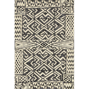 Mika Ivory and Black 5 Ft. 3 In. x 7 Ft. 8 In. Power Loomed Rug